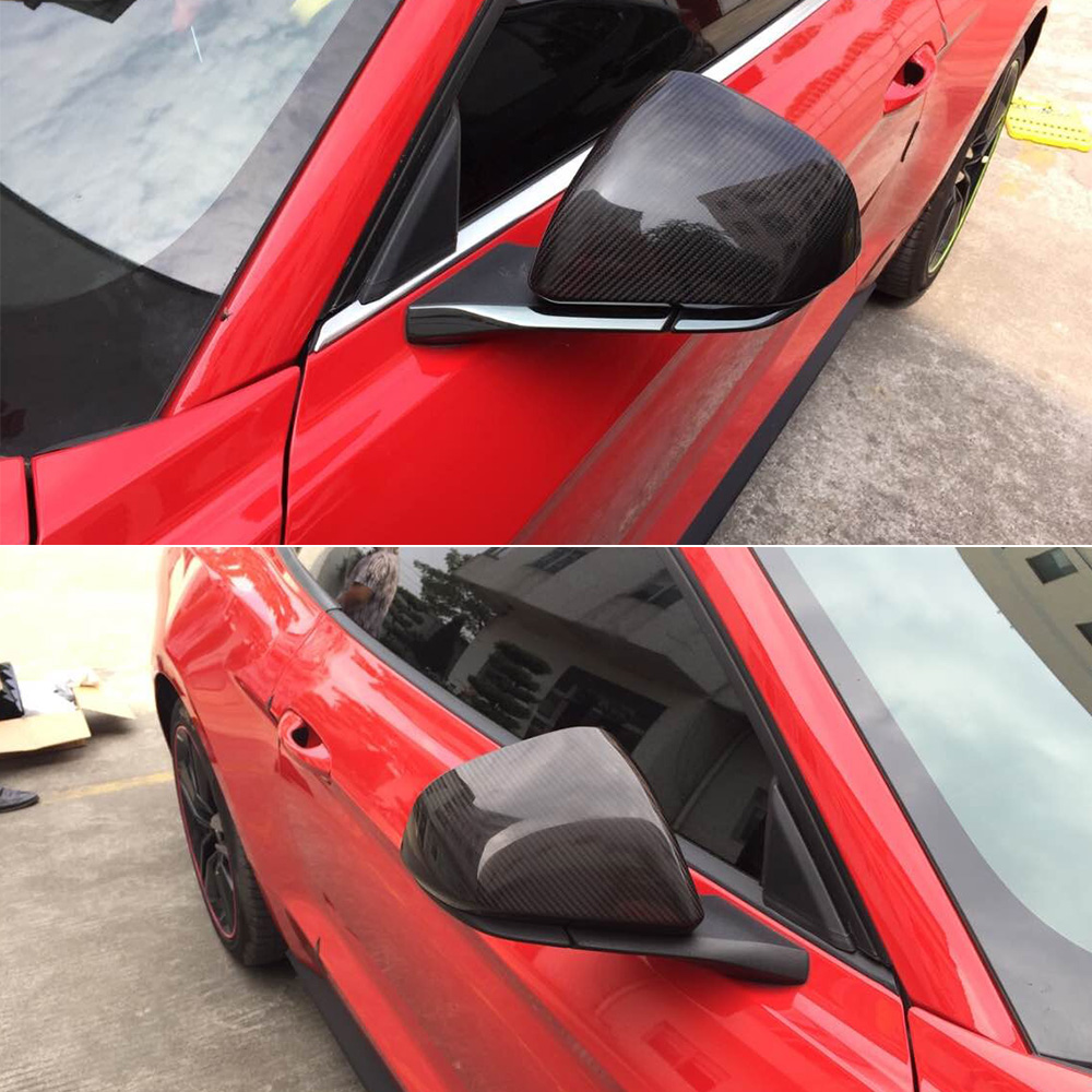 Carbon Fiber Side Mirror Covers for Ford Mustang 2015-2019 with LED Signal 1 Pair Replacement Caps Shell Car Accessories стоимость