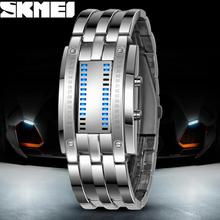 Luxury Lovers' Wristwatch Waterproof Men Women Stainless Steel Blue Binary Luminous LED Electronic Display Sport Watches Fashion