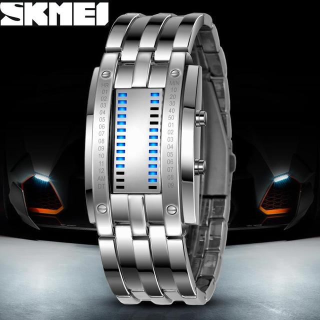 Luxury Lovers' Wristwatch Waterproof Men Women Stainless Steel Blue Binary Lumin