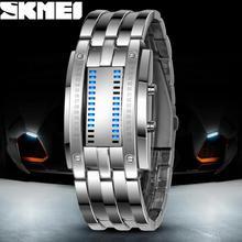 De lujo de Los Amantes Del Reloj Impermeable Hombres Mujeres Acero Inoxidable Azul Binario Luminoso LED Pantalla Electrónica Relojes Deportivos de Moda