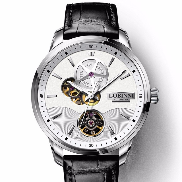 New Switzerland Luxury Brand Men's Watches LOBINNI Sapphire Automatic Mechanical Watch Men Double Hollow 50M Waterproof L5018-1