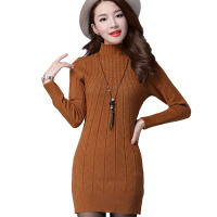 Autumn Knitted Cotton Wool Solid Skinny Stand Collar Women Medium Long Sweater Dresses Elastic Sexy Winter