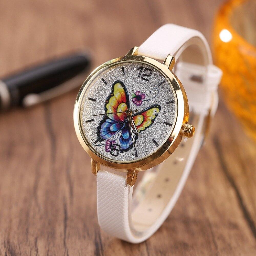 Mode Einfache Genf Uhren Frauen Diamant Analog Leder Quarz