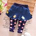 Nuevo 2016 Del Bebé Del Algodón Ocasional Pantalones de Mezclilla Lindo Moda Culottes Niñas Bebés Pantalones Del Todo-Fósforo Pantalones de Los Niños para el Bebé 7-24 Meses