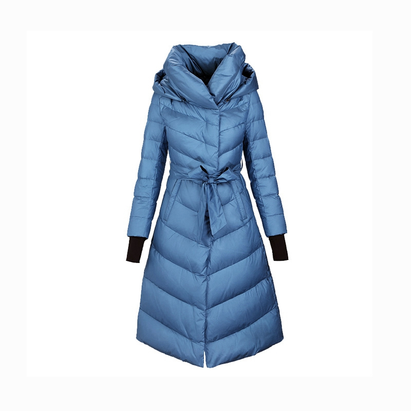 Autumn Winter Women Parkas Down Coats With Hoody 90% Duck Down Lady X-Long Outerwear Overcoat LF5203