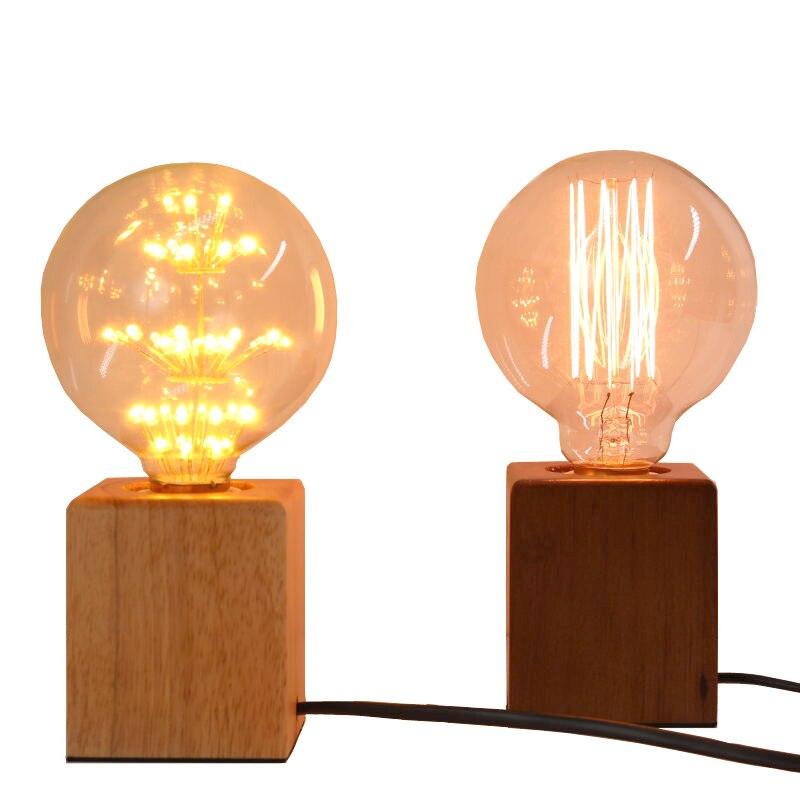 LBAH Vintage Edison ampoule À Incandescence E27 Table Lampe De Chevet Nuit de Café Lumière Solide support De Lampe En Bois de L'UE/US Plug
