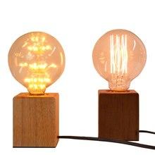 LBAH Vintage Edison bulb Incandescent  E27 Table Lamp Bedside Cafe Night Light Solid Wooden holder EU/US Plug