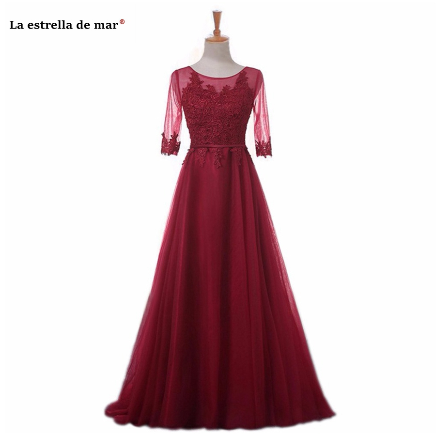 vestido madrinha 2019 HOT lace Scoop neck Half sleeve A Line blush pink burgundy silver royal blue mint green   bridesmaid     dress