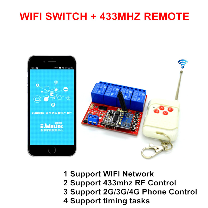 New 1 Way 7V 24V DC DIY WIFI Switch Smart Home ,RF 433mhz Wireless ...