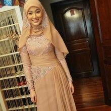 2015 Islamic Muslim Evening Dresses with hijab Long Sleeves High Neck A Line Chiffon Dubai Kaftan Arabic Evening Gowns