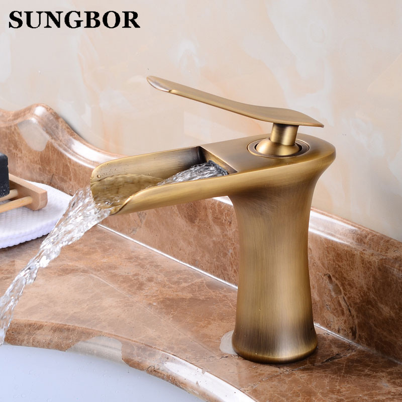 High Quality Water Saver Brass Single Hole and Single Handle Waterfall Basin Mixer Tap Faucets, Antique Bathroom Faucet AL-7133FHigh Quality Water Saver Brass Single Hole and Single Handle Waterfall Basin Mixer Tap Faucets, Antique Bathroom Faucet AL-7133F