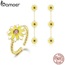 bamoer Enamel Sunflower Ring and Earrings Jewelry Sets for Women Flower Long Dangle Earring for Women Silver 925 Jewelry ZHS131(China)