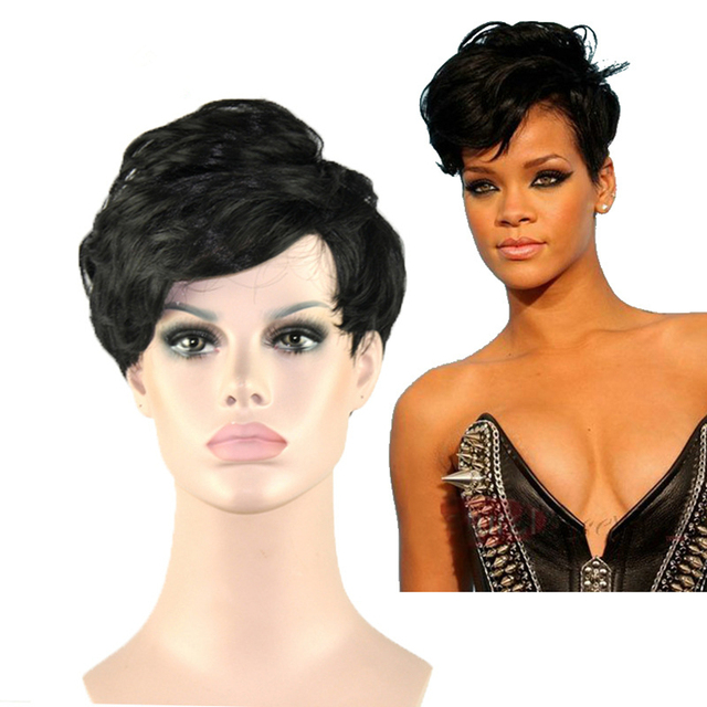 New Arrival Rihanna Style Synthetic Wigs Short Curly Black Wig For Women Glamorous Fashion +Free Wig Cap