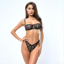 yhotmeng new summer womens sexy transparent bra nightclub stitching underwear set lingerie