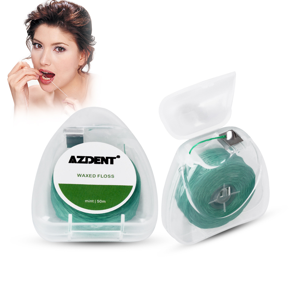 AZDENT 50M/ Spool Mint Flavor Waxed Dental Flosser Built-In Spool Wire Toothpick Dental Floss Replacement Core Interdental Brush