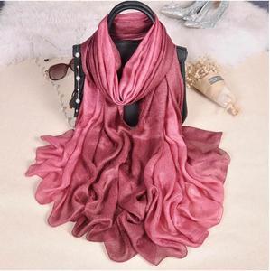 Image 5 - Fashion  Luxury gradient scarves  Soft linen silk plain shawls hijab spring big size spring muslim headband wrap scarves