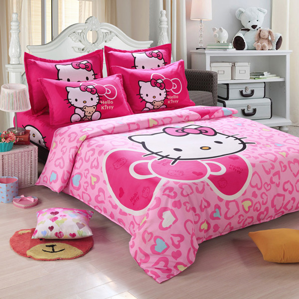 unihome home textiles children cartoon hello kitty kids bedding set include duvet cover bed sheet