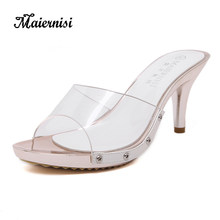 df923b77dbbd MAIERNISI Daily Thin Heels Womens Slingback Clear Crystal Slippers Female  High Heel Flip Flop Fashion Women Sandals Big Size