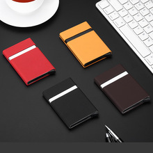 Antitheft Men Fashion Credit Card Holder Blocking Rfid Wallet Leather Unisex Security Information Aluminum Metal Purse