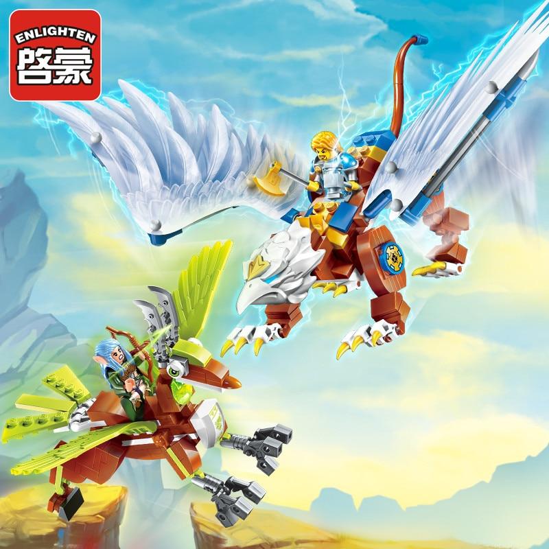 Osvětlení slávy války Vzdělávací stavební bloky Hračky pro děti Dárkový hrad Knight Heroes Zbraň Elf Griffin Elk Lord of Sky