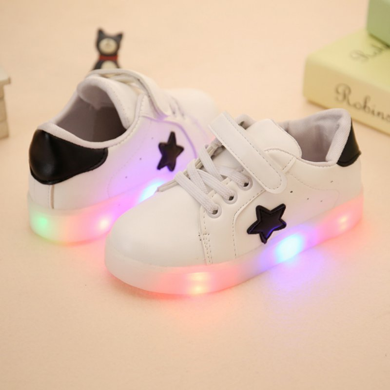 Spring&Auwumn Colorful Flashing LED Light Girls Boys Casual Shoes Kids LED Sneakers New Kids Stars Boys Shoe With Lights