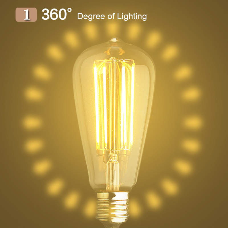 GentelWay 8W Dimmable Edison LED Bulb Lamp E27 ST64 For Chandelier and Pendant Light Lighting Fixture E26 Bulbs Home Living in LED Bulbs Tubes from Lights Lighting