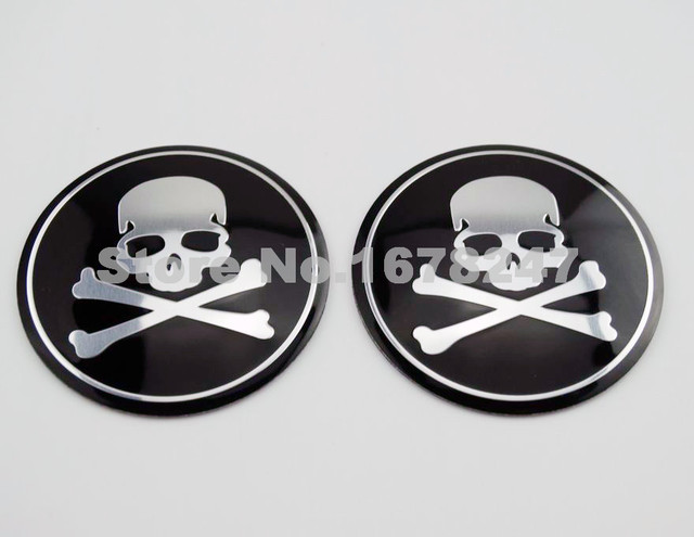 Pair skull round oil fuel gas tank badge emblem fairing body decal sticker motorcycle wheel center