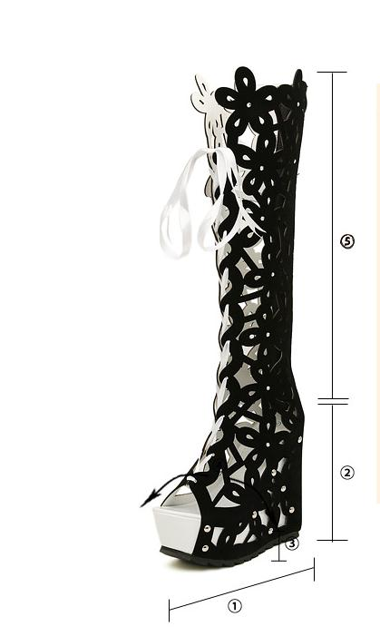 Superacides white Coins Bout Ouvert Black Bandage Talons Sexy forme Bottes Femmes Pompe Plate Refroidir Découpe 2017 Chaussures À Hauts dv1BqwdR