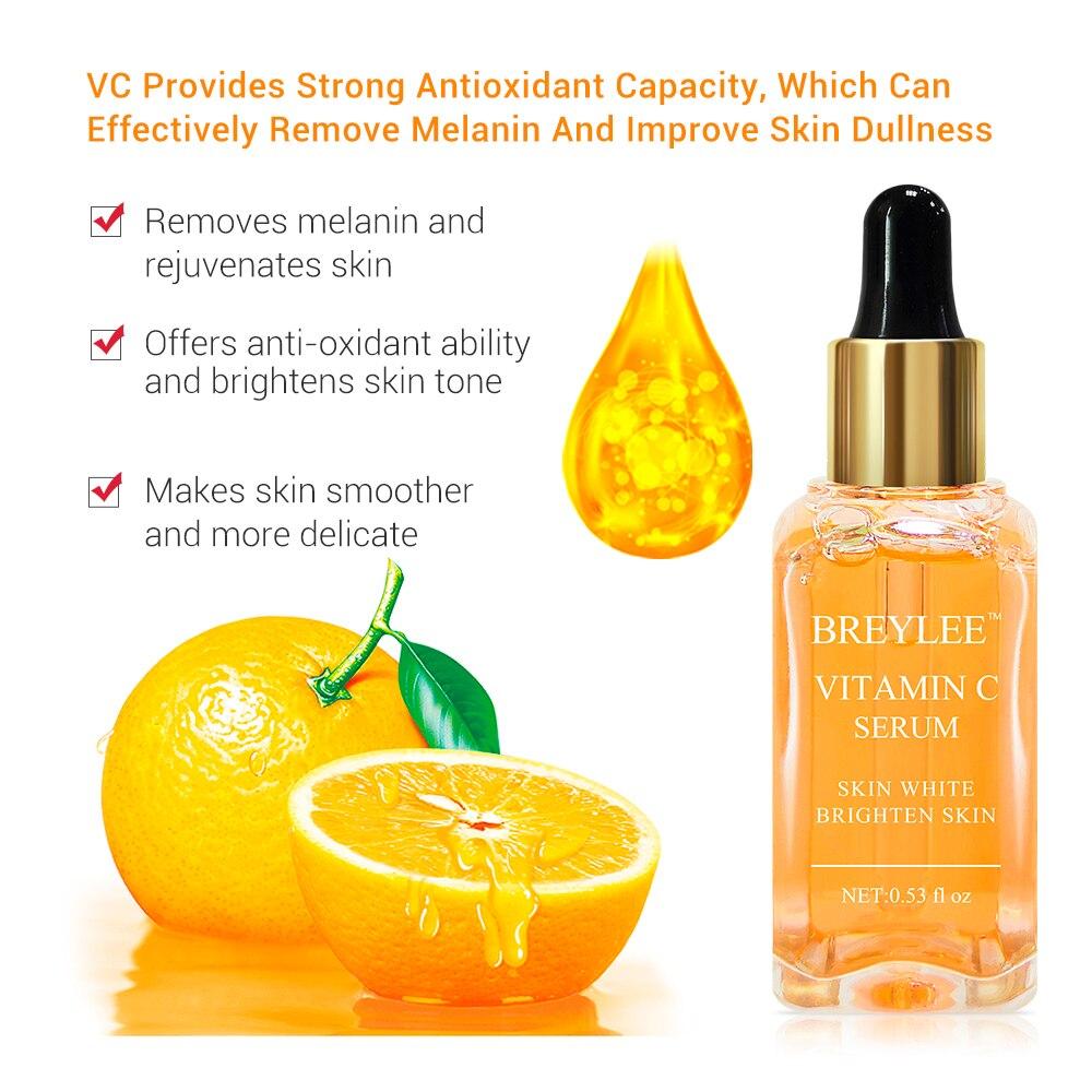 15ml Vitamin C Serum Natural Face Serum Brighten Repair Skin Fade Dark Spots Freckle Anti-Aging Whitening Serum Face Skin Care