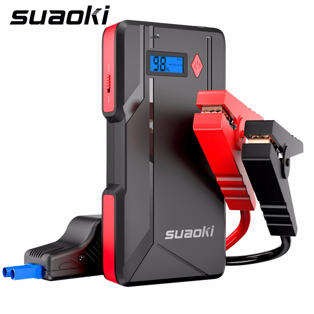 Suaoki P6 Jump Starter 800A Peak Car Battery Up to 6.0L Gas or 5.0L Diesel Engines LCD Screen 2 USB Port Power Bank Flashlight|Chargers| |  - title=