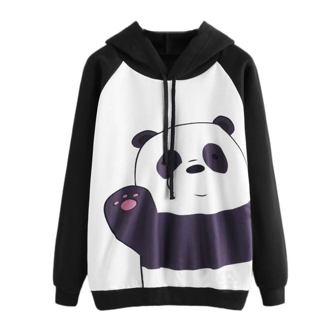 Women Kawaii Panda Print Hooded Sweatshirt Autumn Ladies Oversized Long Sleeve Casual Loose Jumper Pullover Cropped Hoodie #Z