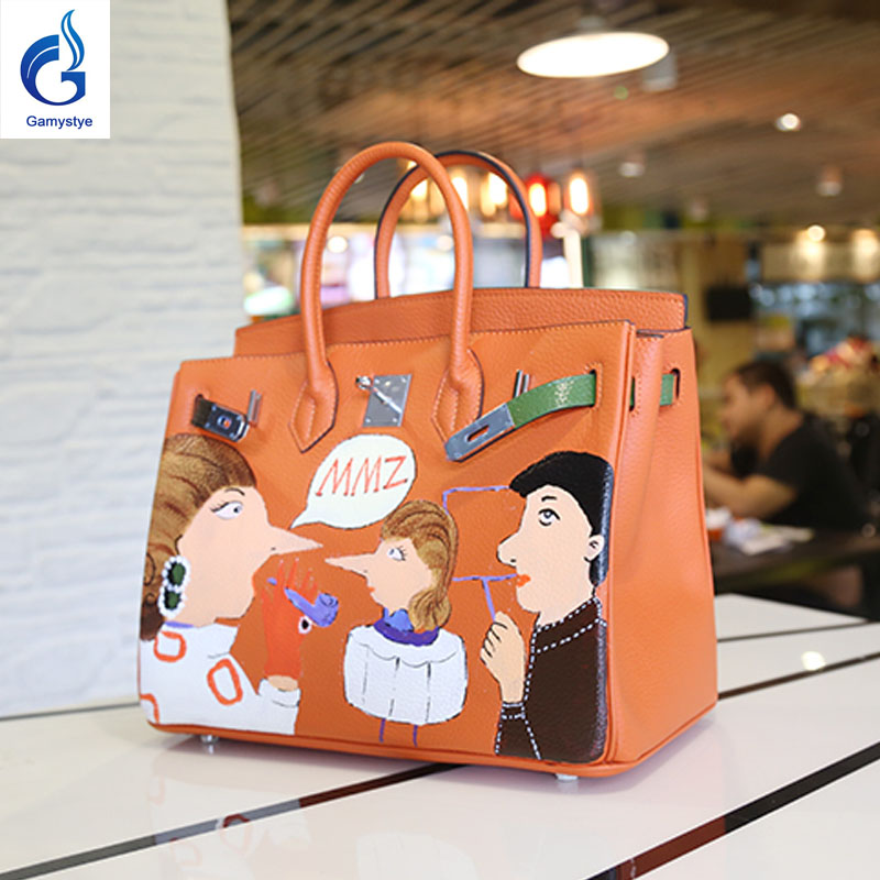 Graffiti Custom Bags Hand Painted bag Women luxury Bag painting color Graffiti handbag blose female women leather bags mum momma