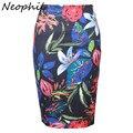 Neophil 2017 Primavera Estilo Elegante Mulheres Flor Floral Sexy Imprimir Cintura Alta Magro Lápis Saias Escritório Senhoras Elásticas Saias S1221
