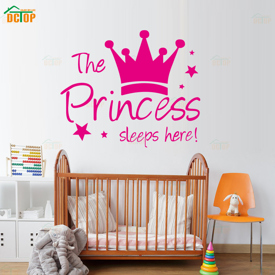 The Princess Sleep Here Vinyl Wall Stickers Crown Stars Wall Decals For Kids Room Home Decor Wall Art Quote Bedroom Wallpaper