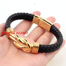 8.85″ 10.8mm Promotion men womens bracelet bangle black leather jewelry gold stainless steel chain fashion accessories wholesale