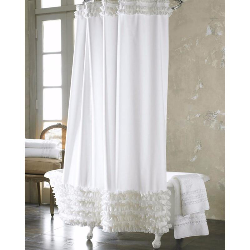 180180cm White Lace Shower Curtain Waterproof Mildewproof