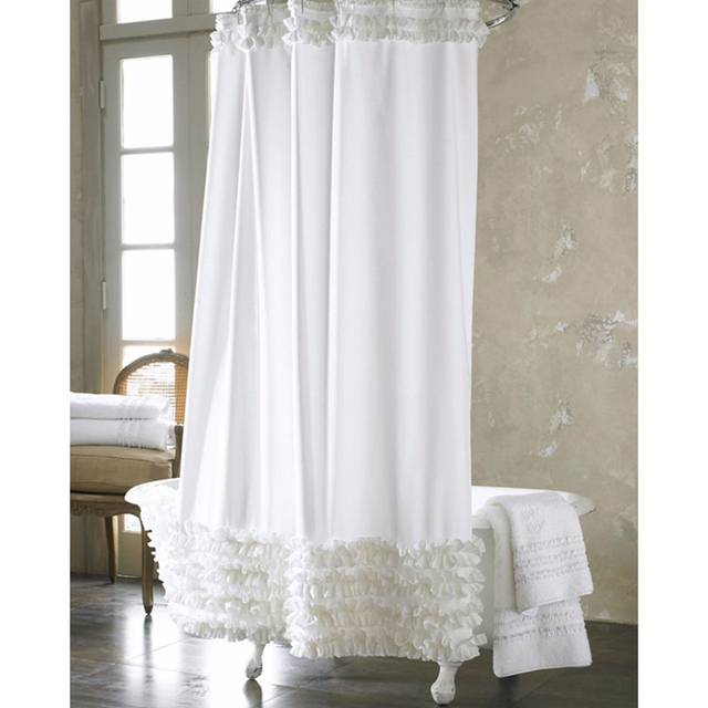 180 180cm White Lace Shower Curtain Waterproof Mildewproof Polyester