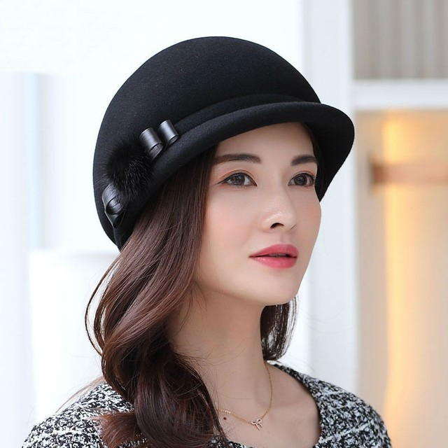 Mother Gift Lady Autumn And Winter Banquet Woolen Cloche Hats Woman Party  Formal Fedora Hat Top 41a1936aea9c