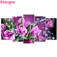 Fezrgea 5D DIY 5pc Diamond Painting Colorful Butterfly Purple Tulip Embroidery Full Round Drill mosaic Multi-picture