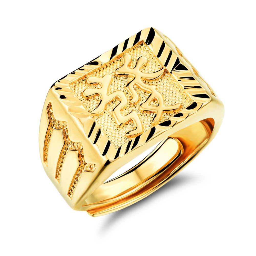 TENGYI New Arrival Classic Gold Color Men Rings Chinese Engraving ...