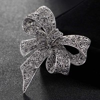 Blucome Women Vintage Bowknot Brooches Jewelry Perfect Rhinestone Crystal Pin Brooch For Women Wedding Jewelry Bridal