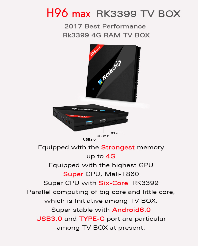 H96 MAX RK3399 4GB RAM 32GB ROM TV BOX 2 4G/5 0G Wifi H 265 4K Smart Tv VP9  Android 7 1 Bluetooth 4 0 USB3 0 Type C Media Player-in Set-top Boxes from