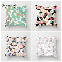 Fuwatacchi Colorful Geometry Pattern Cushion Covers Dot Square Throw Pillows Cover Map Velvet Pillow Case For Sofa