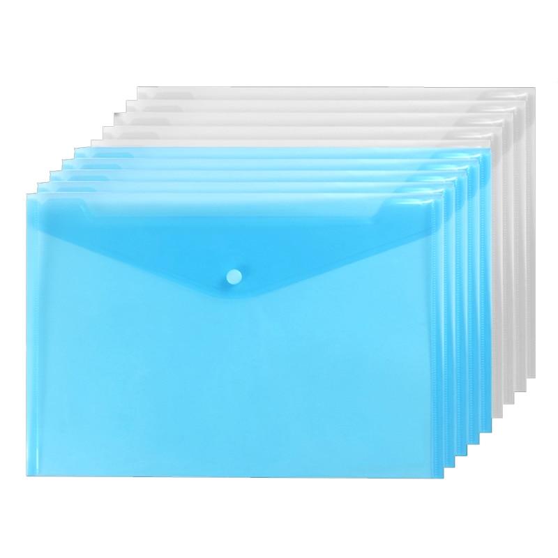 20 Pieces Plastic Envelopes - Poly Envelope With Snap Button Closure Plastic Folders Premium Quality Document Folder A4 Size