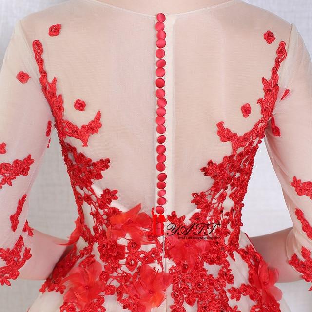 Tienda Online Liyatt abendkleider vestido de festa o cuello rojo 3D ...