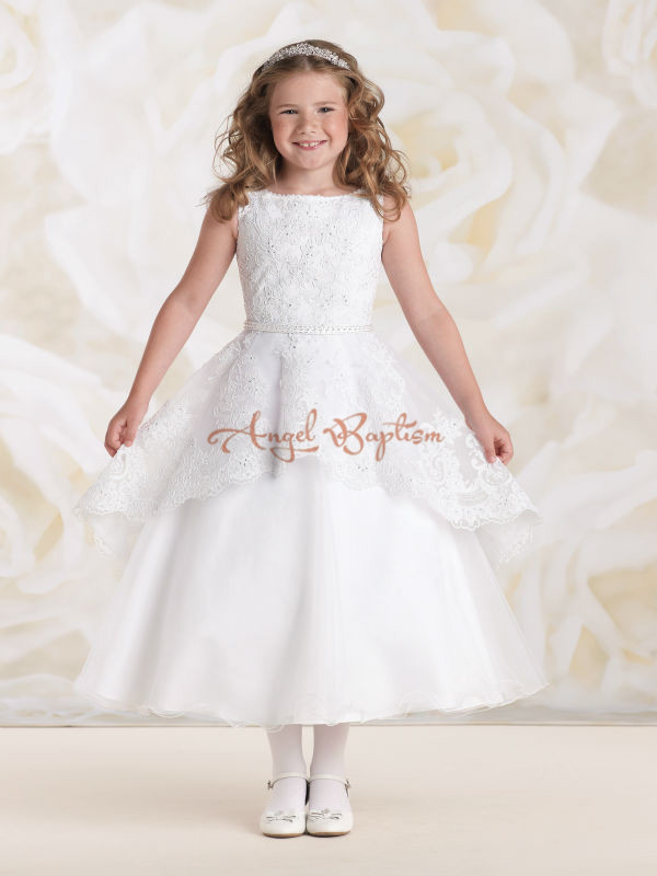 2016 White/ivory lace appliques Mid-Calf  flower girl dresses glamorous wedding birthday pageant party ball gowns custom nice sheer short lace sleeve boat neckline ball gowns long pleated appliques wedding birthday party flower girl dresses