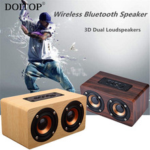 DOITOP Wooden HIFI Bluetooth Speaker Wireless Subwoofer 3D Stereo Dual Loudspeakers Surround Bass Support TF Long Playtime A3