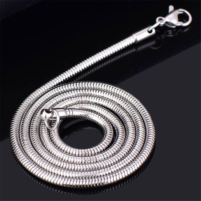 Recién llegado, collar de cadena de serpiente de acero inoxidable de 3MM, joyería de moda para hombres, longitud 20-28 pulgadas, regalos de Navidad, triangulación de envío
