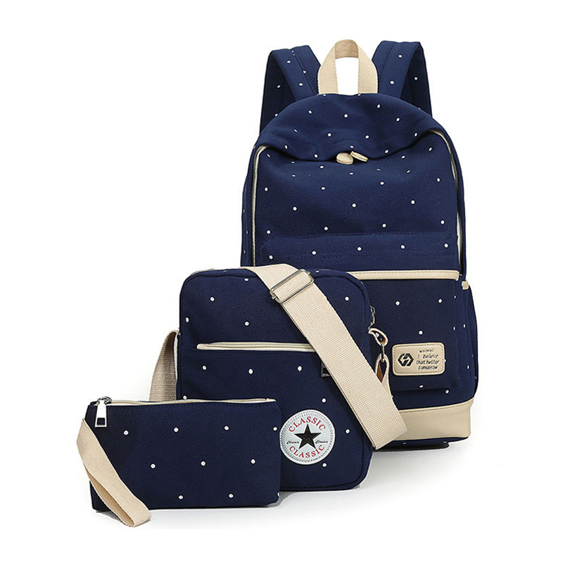 Canvas Women Backpack Big Girl Student Book Bag With Purse Laptop 3pcs Set Bag Preppy Style Ladies School Bag For Teenager