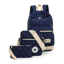 Холст Для женщин рюкзак большой студентка Книга сумка с кошелек ноутбук 3 шт. комплект сумка элегантный дизайн дамы Школьная Сумка для Подросток